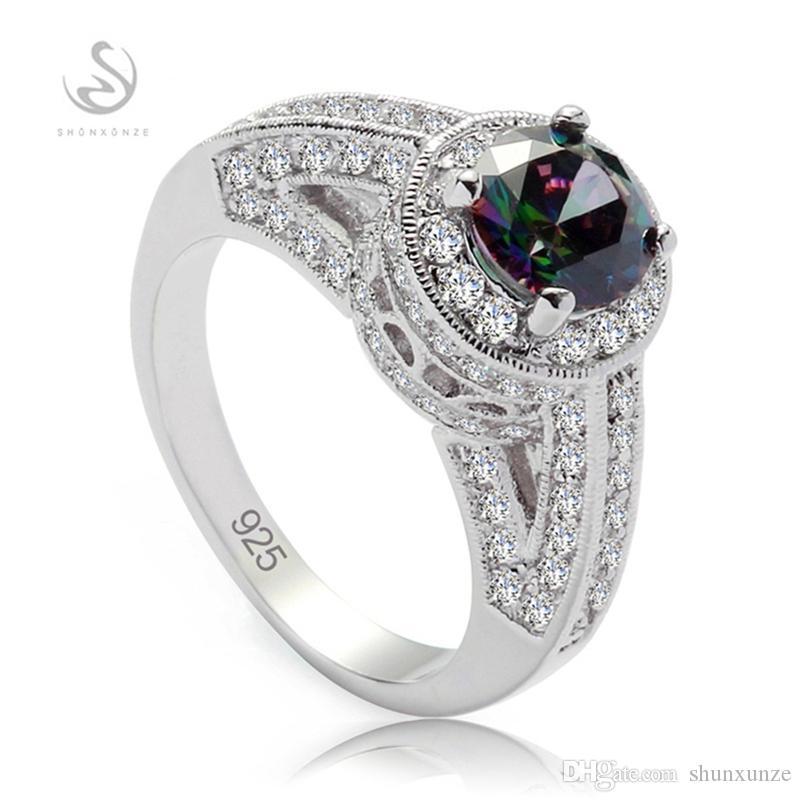 SHUNXUNZE Shinning 925 argent sterling bagues de fiançailles bijoux carrière pour femmes nobles Rainbow Cubic Zirconia S-3798 taille 6 7 8 9
