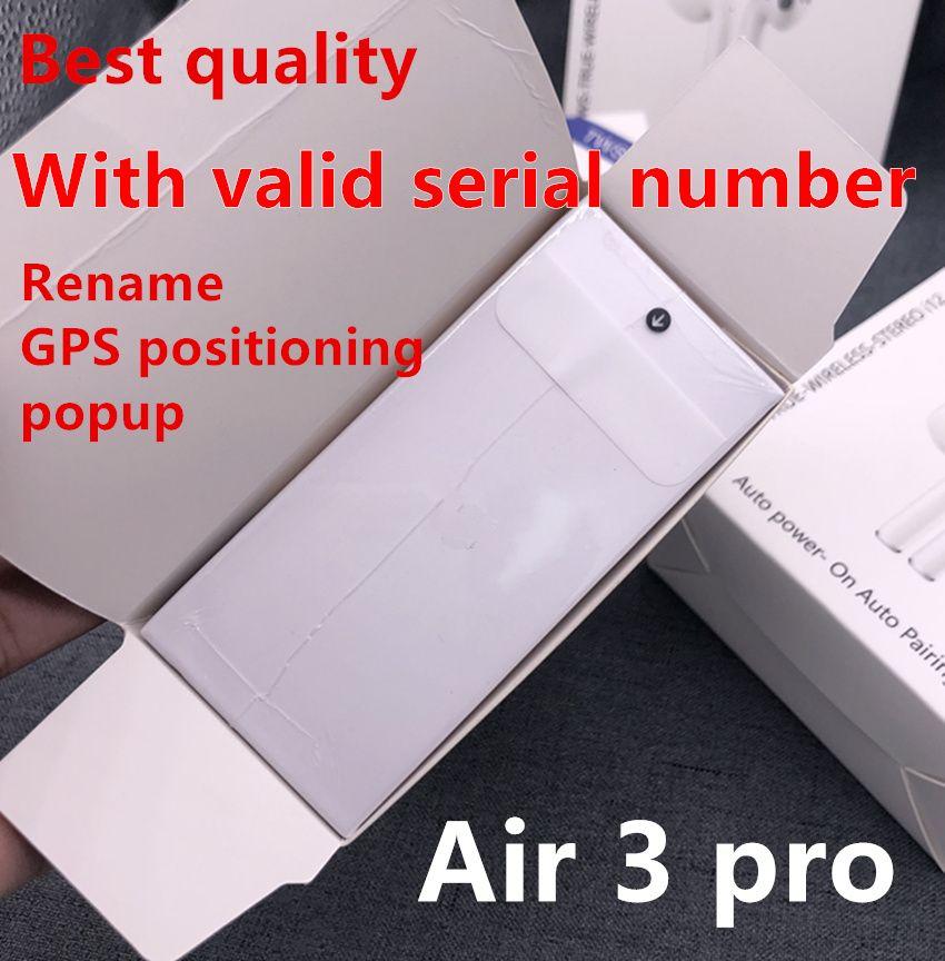 유효한 일련 번호 AP3 에어 3 프로 무선 충전으로 이어 버드 3 세대 센서 블루투스 헤드폰 자동 페어링 이어폰의 이름을 변경