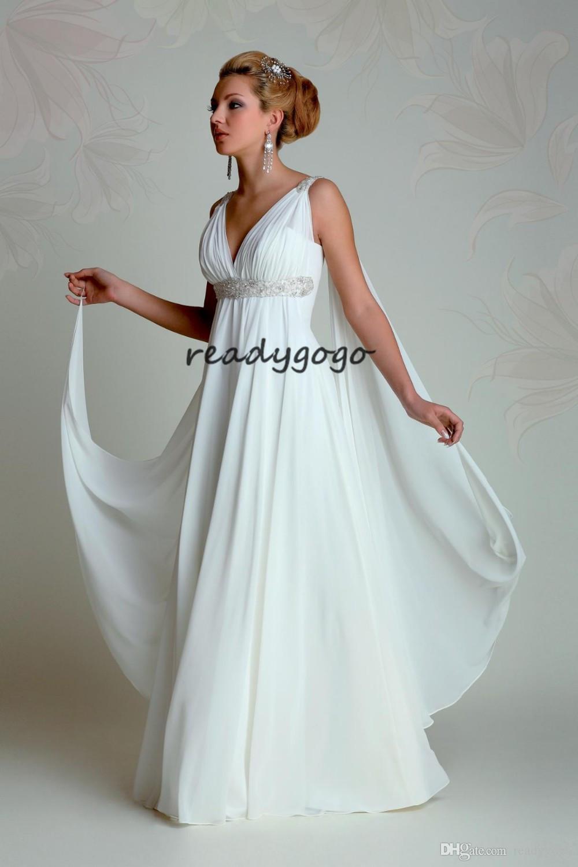 Greek Goddess beach Wedding Dresses V Neck Empire A Line Full Length Beading White Chiffon Summer Bridal Gown with Watteau Train