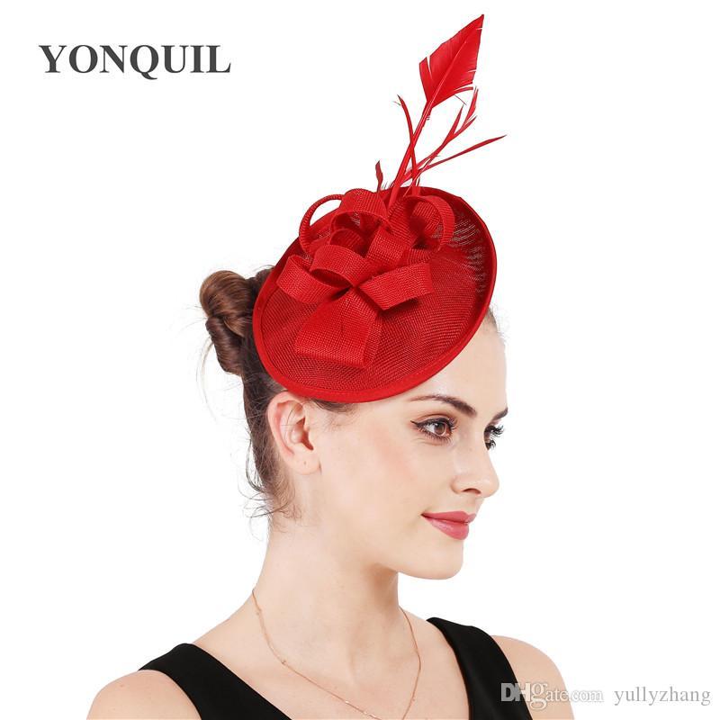 2017 Nouveau mariage imitation Sinamy chapeau bibi avec base fascinateur décoration de plumes pour les femmes partie bricolage coiffure accessoires cheveux