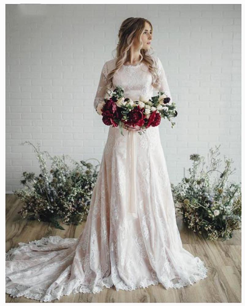 بوهو الرباط فساتين الزفاف متواضعة تصميم الشمبانيا بطانة العاج الرباط تراكب خط أثواب الزفاف كم طويل Vestidos دي Noiva
