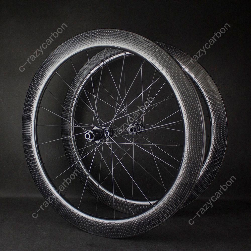 무료 배송! 에어로 딤플 도로 디스크 브레이크 휠 자갈 Cyclecross 탄소 딤플 휠 튜브리스 / 관상 DT 노바 텍 허브 센터 잠금