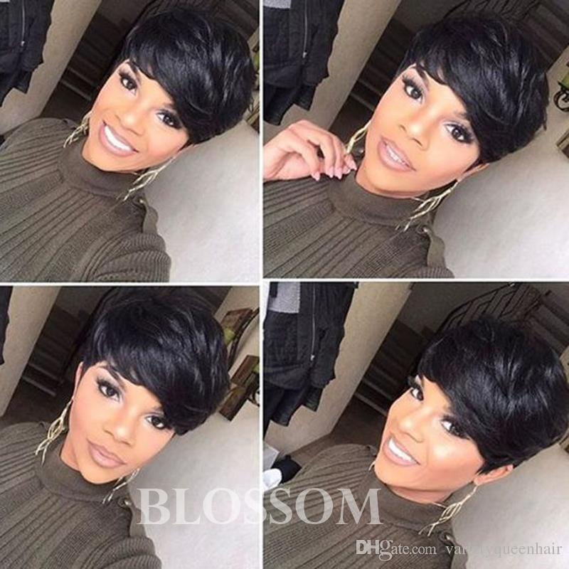 100 Human Hair Layered Short Cut Wigs Black Hair Short Bob Glueless Pixie Cut Wigs For Women Can Be Washed And Curled Grey Wig Human Hair Wigs For