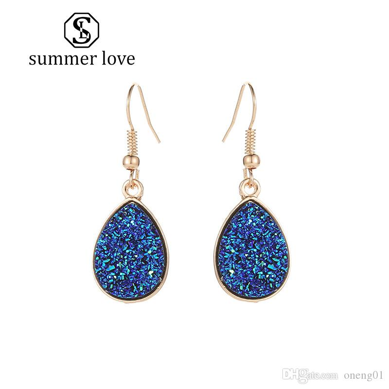 New Arrival Pink Green White Blue Resin Druzy Stone Dangle Earring for Women Girls Gold Hook Earring Fashion Jewelry Gift