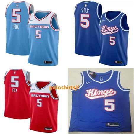 Mens #5 DeAaron Fox Sacramento Kings City Edition Swingman Jersey for Men Women Youth Blue