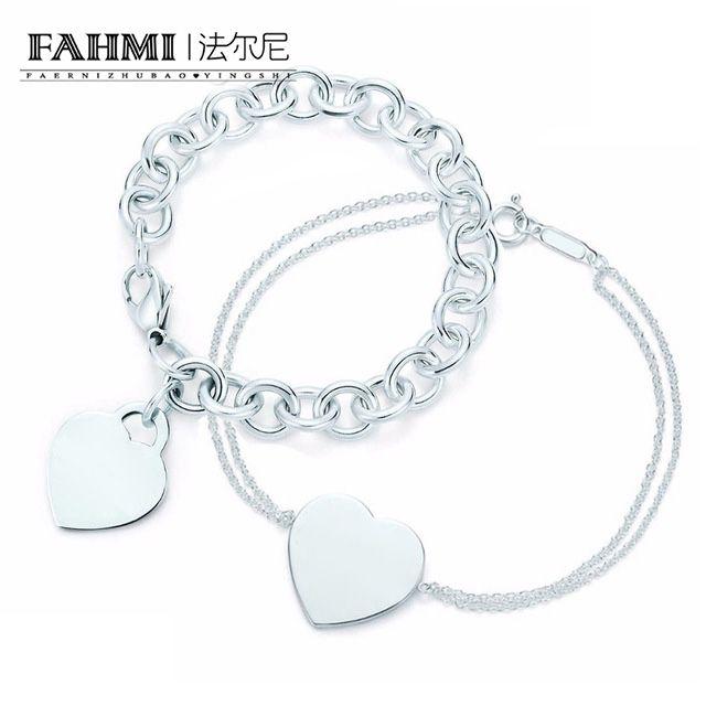 Fahmi fascino per i regali argento 925 a forma di cuore elegante di blocco Tif Bracciale Tif Bracciale Argenteria corrispondenza delle donne del mondo