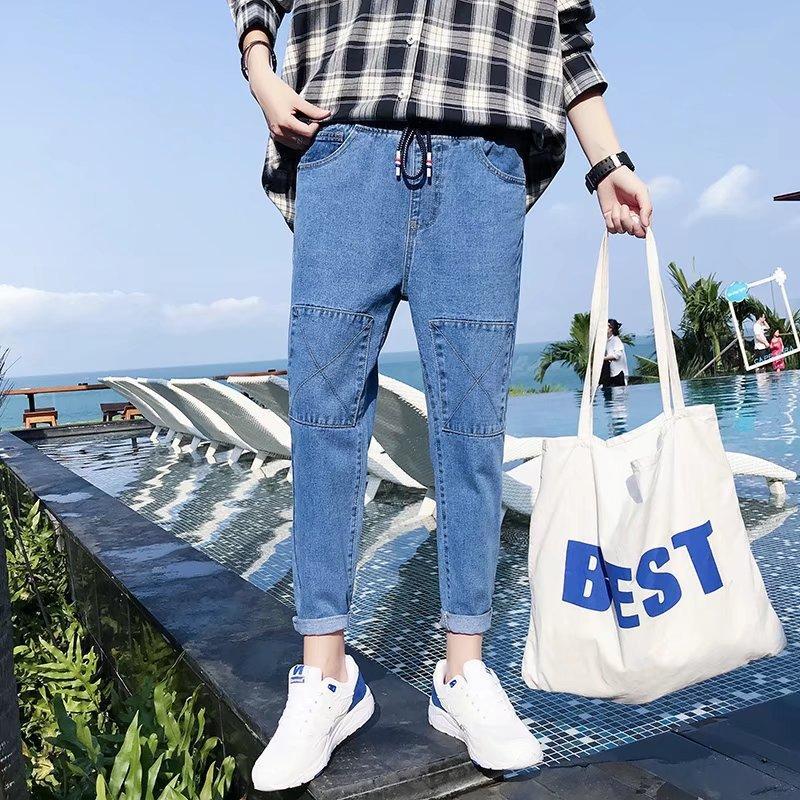 Men's Jeans Hong Kong Style 2021 Denim Pants Cropped Teenagers Loose Korean Trendy Elastic Waist Feet Harem