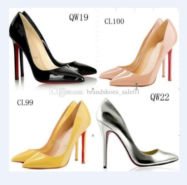 С 2020 коробка моды роскошь дизайнер женской обуви на высоких каблуках 8 см 10 см 12 см Nude черные красные кожаные остроносые насосы днища модельная обувь