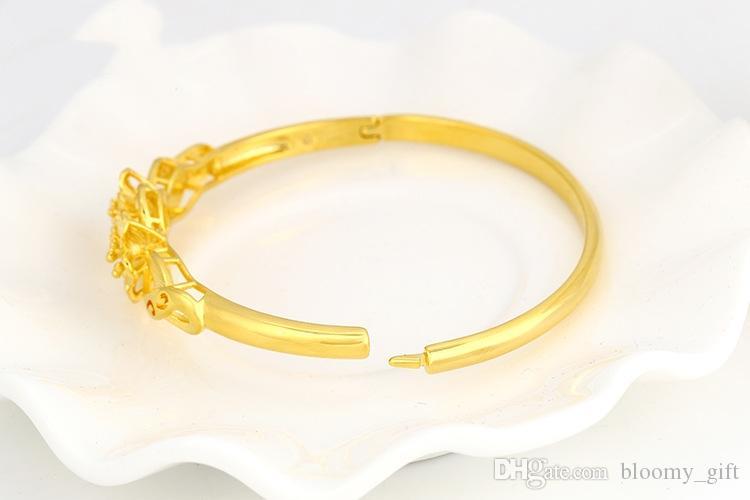 Cinese stile retrò fiore Reale bracciali delle donne 18K dono di nozze di nozze placcato in oro