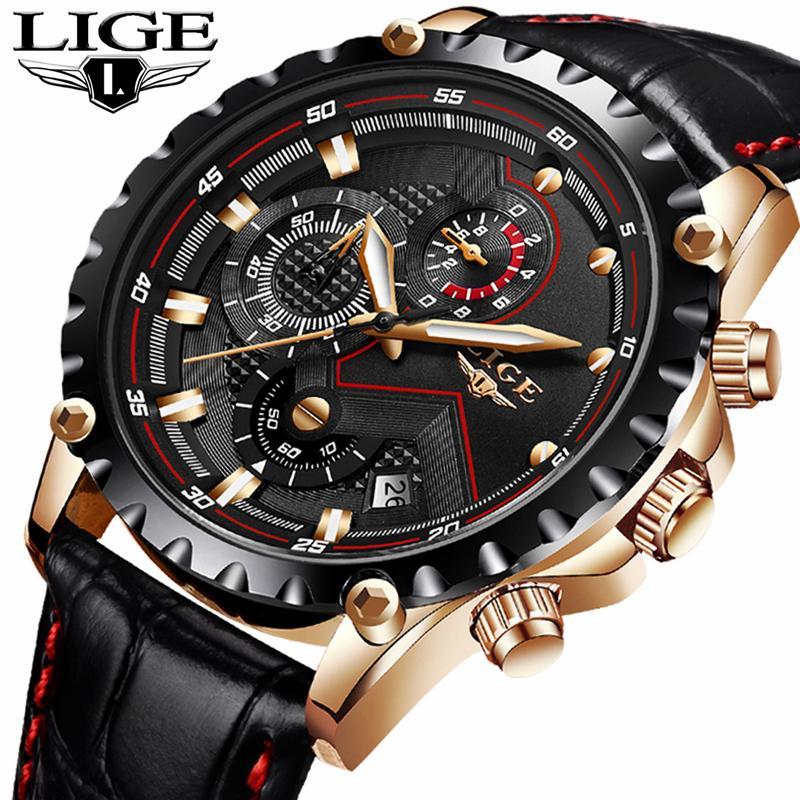 Lige Top Brand Luxury Watch Men Fashion Casual Business Men Watches Military Sports Waterproof Quartz Watch Relogio Masculino Y19062004