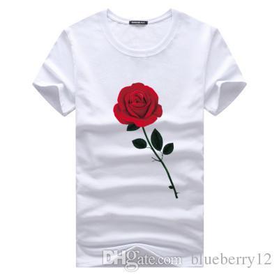 Rose T-shirts imprimés d'été Haut-shirt ras du cou à manches courtes hommes 5XL New Mode Vêtements coton Hauts pour hommes T-shirts occasionnels
