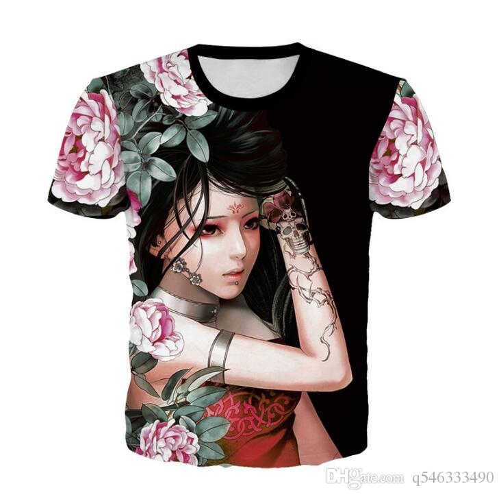 Summer Men's Chinese Style Retro Men's T-Shirt Casual Beauty Print 3DT Shirt Men