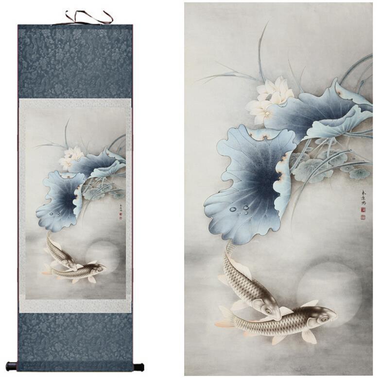 Art traditionnel en soie peinture poisson et nénuphar Art chinois traditionnel peinture décoration de bureau décoration