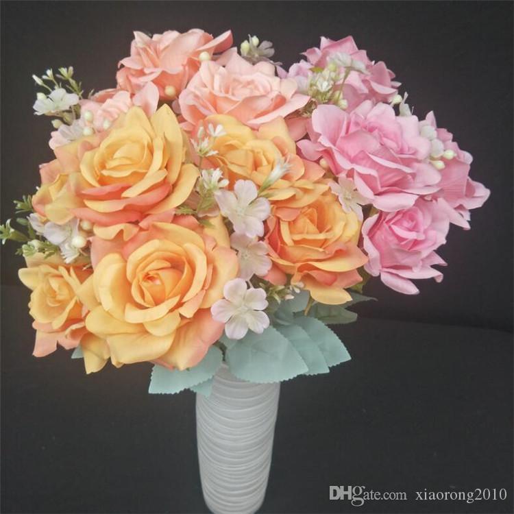 """Faux Hibiscus Rose (11 tiges / bouquet) 20.07"""" Longueur Roses simulation pour le mariage décoratifs pour la maison Fleurs artificielles"""