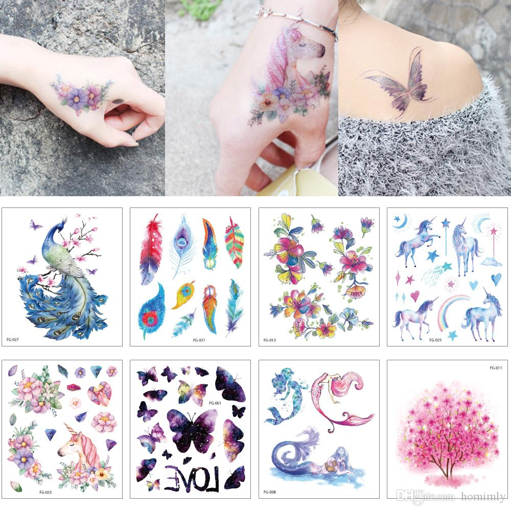 12x10.5 cm FG Glitter Tatuaje temporal Flash Body Neck Arm Art Sticker Flor de mariposa pequeña Unicornio Cat Tattoo Design para mujer Moda infantil
