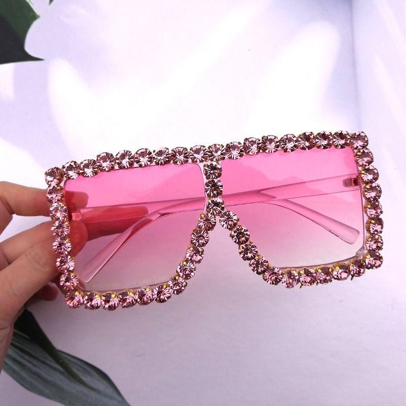 Cristal de diamant lunettes de soleil surdimensionnées pour les femmes de la mode sexy bonbons Shades UV400 Lunettes de soleil Transparent Frame strass femmes Effacer