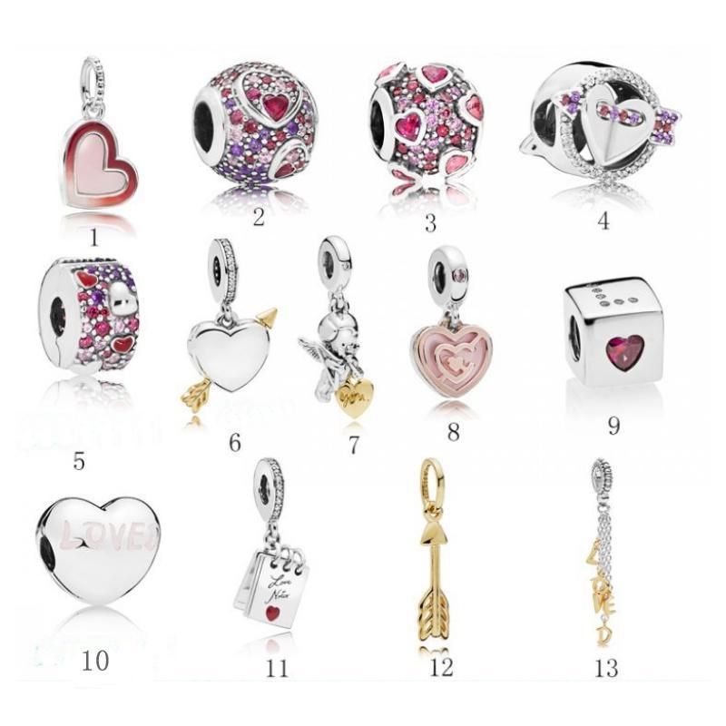 2019 San Valentino fit argento perline braccialetto donna fai da te perline collana amore donne perline bracciale gioielli collana gioielli