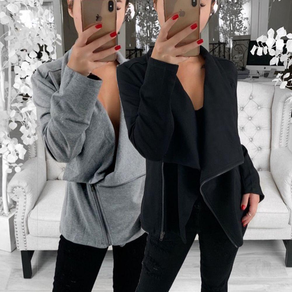 Collare Autunno Inverno Donne Bat Felpa diagonale Zipper Gira-giù Zip-up solido di colore con cappuccio a maniche lunghe Outwear femminile Top