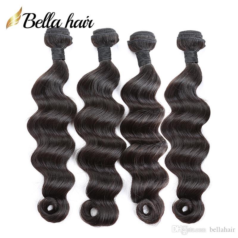"Luźna Głęboka Wave Human Włosy Wiązki Indian Virgin Human Hair Weaves Extensions Double Weft Natural Color 12 ""-24"" 3 sztuk / partia Bellahair"