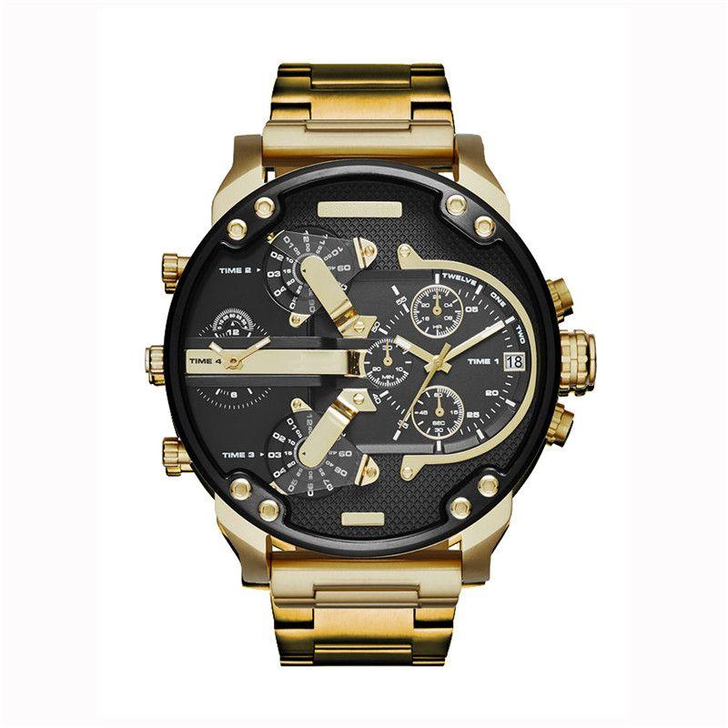 DZ 7333 dz Uhr für Mann großen Zifferblatt Militär Armbanduhr 2 Zeitzone Männer Sport Uhr-Mode-Kleid-Uhren beiläufigen Quarz-Uhr-reloj