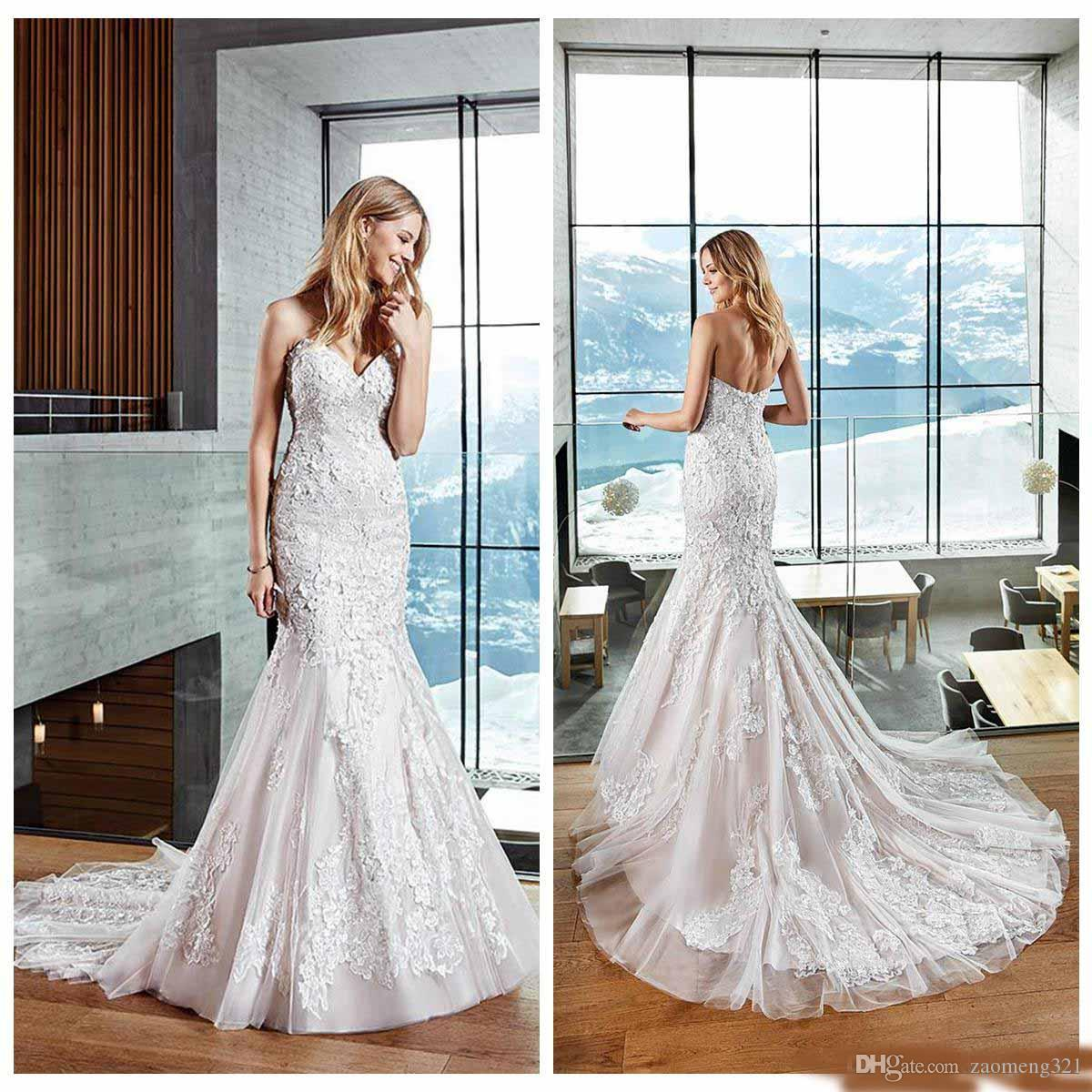 Vestidos de Novia Mermaid Wedding Dresses 2020 Strapless Backless Sleeveless Floor Length Tulle Applique Lace Vintage Plus Size Bridal Gowns