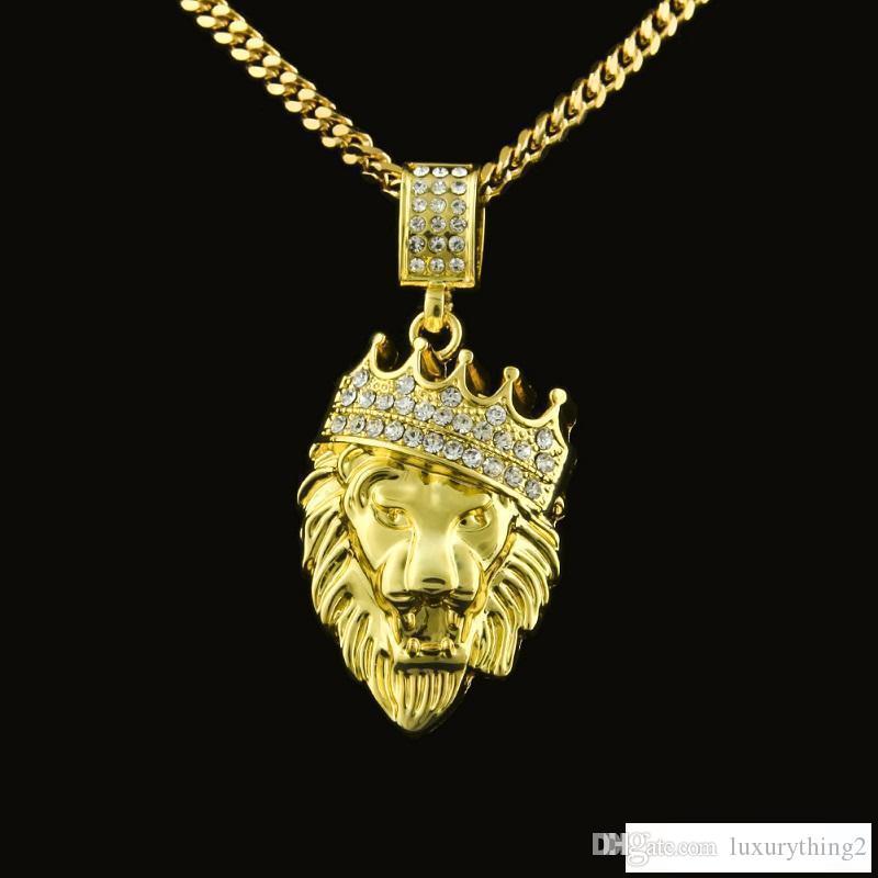 Erkek Hip Hop Takı Altın Küba Link Zinciri Aslan Baş Kral Taç Kolye Kolye Moda Takı