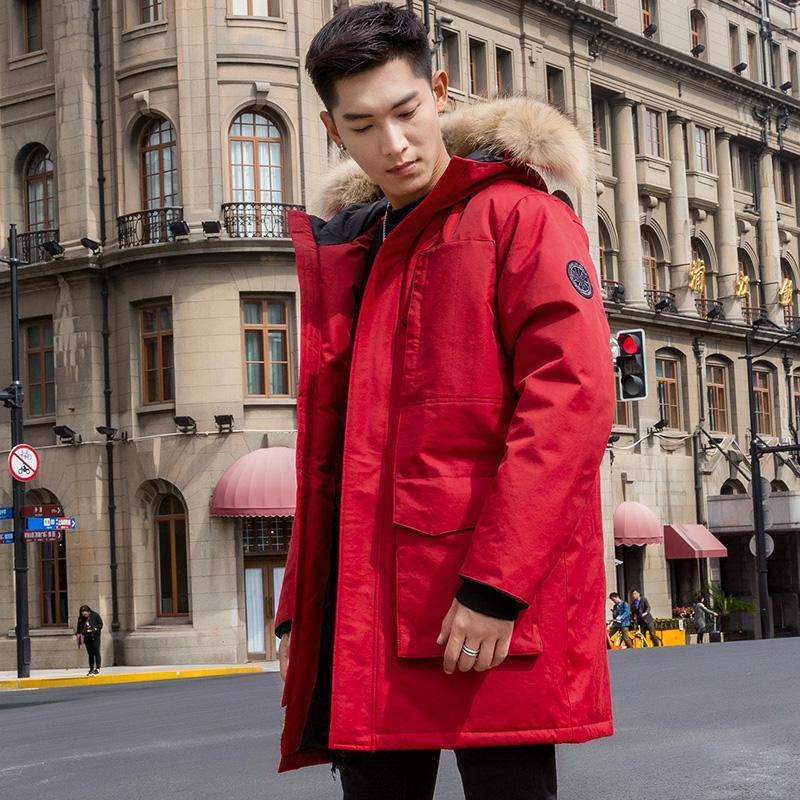 Escudo Tcyeek real del mapache de piel con capucha de Down invierno de los hombres 90% plumón de pato ropa de abrigo chaqueta 2019 Corea caliente, corte largo Parka Hiver 4700