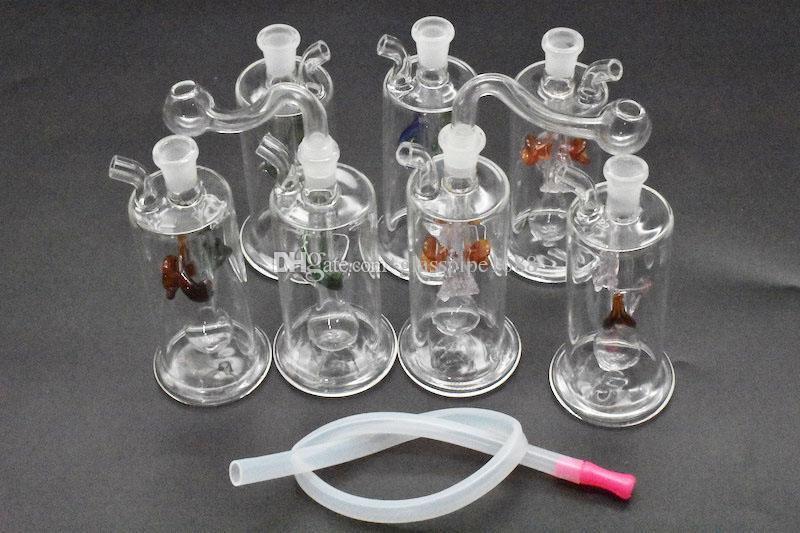 Glass Small Ölbrenner Wasser Rig Mini Glass Bubbler Bong Aschenfänger Rauchen Wasserpfeifen Oil Rigs tupfen Rig Birdcage Perc
