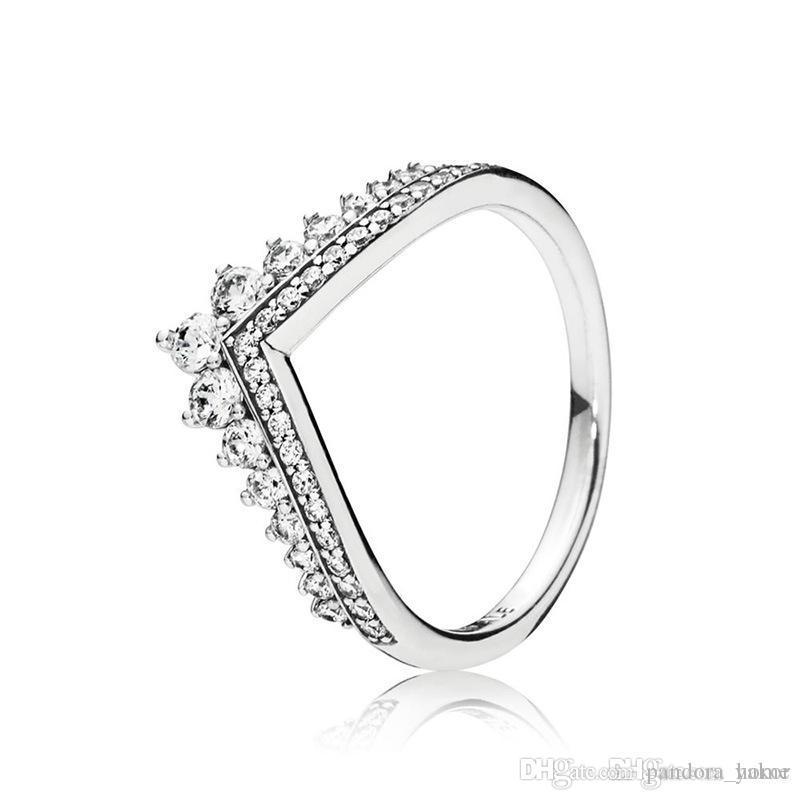 جديد وصول المرأة الأميرة تاج حلقات مع هدية الأصلي علبة ل باندورا 925 فضة تشيكوسلوفاكيا الماس الدائري مجموعة
