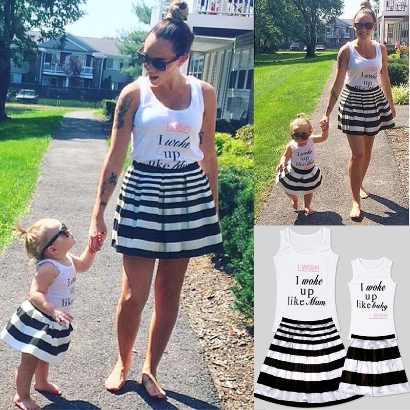 Mother and Daughter Baby Tank T-Shirt Tops Vest Family Matching Outfits Summer
