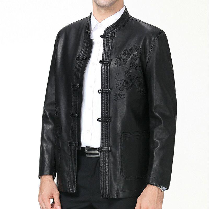 Men Casual Suit Tang Giacche Plus Size uomini di PU Cappotti Autunno Inverno 50% pelle Off Faux 3XL 4XL