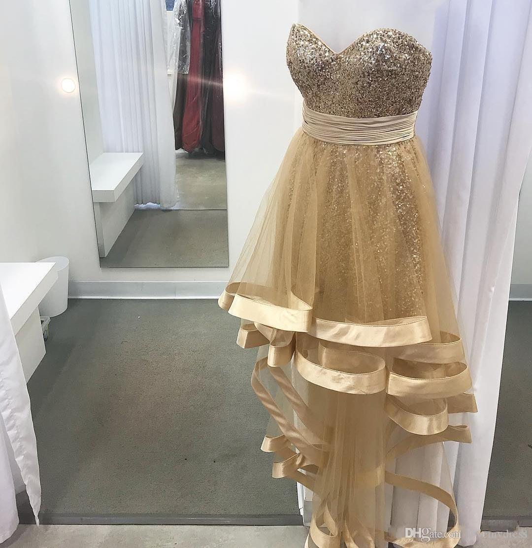 Champagne Sequin Hi Lo Cocktail Party Dresses Cheap 2019 Pleated Strapless Open Back Short Prom Homecoming Dress Evening Gowns Graduation