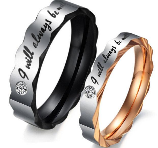 316L Stainless Steel Couple Rings OPK Romantic JEWELRY for Wedding Unique Design His and Her Promise Ring Valentine's Day Gift B11