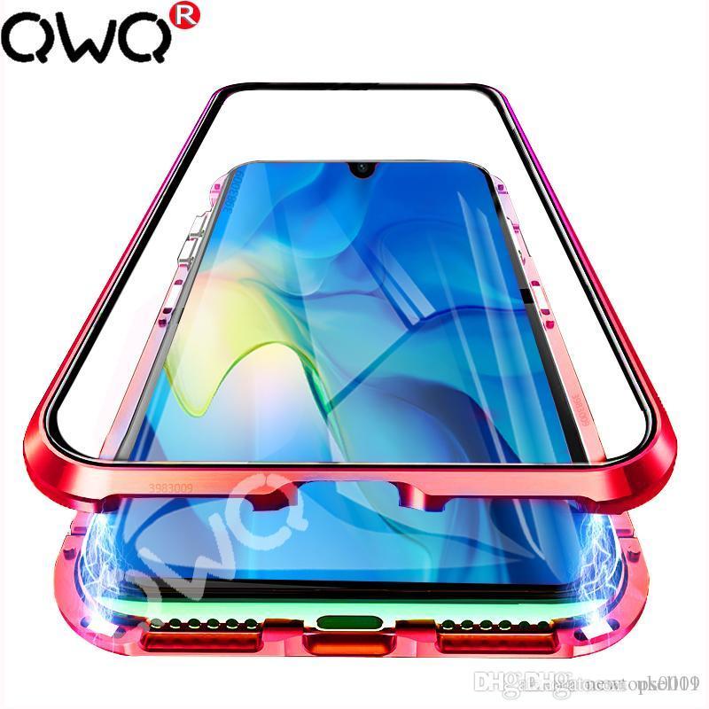 UK Metall Glas-Magnettelefonkasten für Huawei P20 P30 Pro Lite P Smart-2019 Schutzhüllen für Huawei Mate-20 Lite Pro Flip-Cover