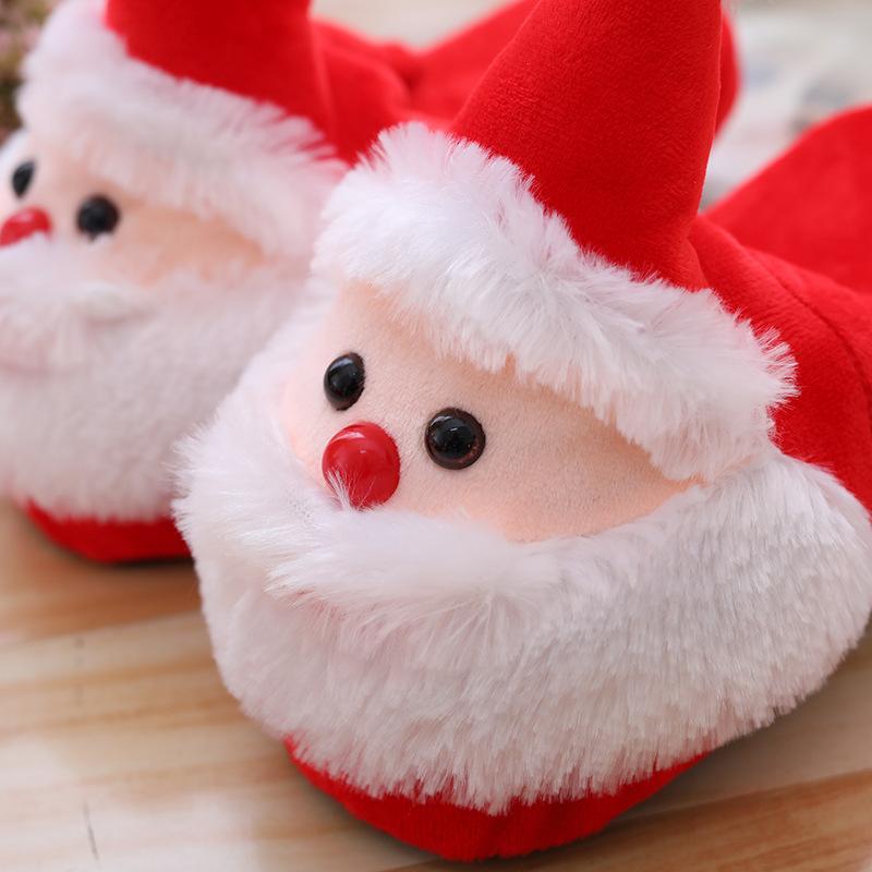 Adorável Desenhos animados Papai Noel no outono e inverno véspera de Natal chinelos quente de algodão para casais em casa