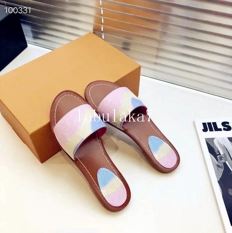 2020 tasarımcı marka sandalet moda kadın sandalet kadın kutusu Ile lüks çiçek baskılı kravat-boya unisex plaj flip flop terlik büyük boy 42