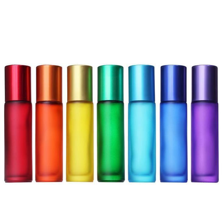 Novas 200pcs / lot grosso colorido 10ml geado 1/3 onças Roll On vidro Fragrâncias garrafa de perfume Essencial rolo Frasco de óleo Bola SN796