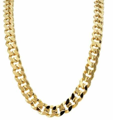 O ouro 9ct encheu os homens robustos pesados Chain 9k de Bling da corrente do freio cubano de 9mm
