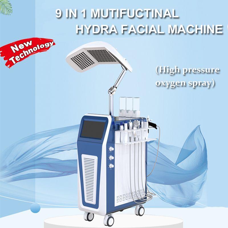 Multifunción HydraFacial alta cáscara de chorro de oxígeno hiperbárico Jet pura máquina de rejuvenecimiento facial con TFD Terapia de luz RF ultrasónico