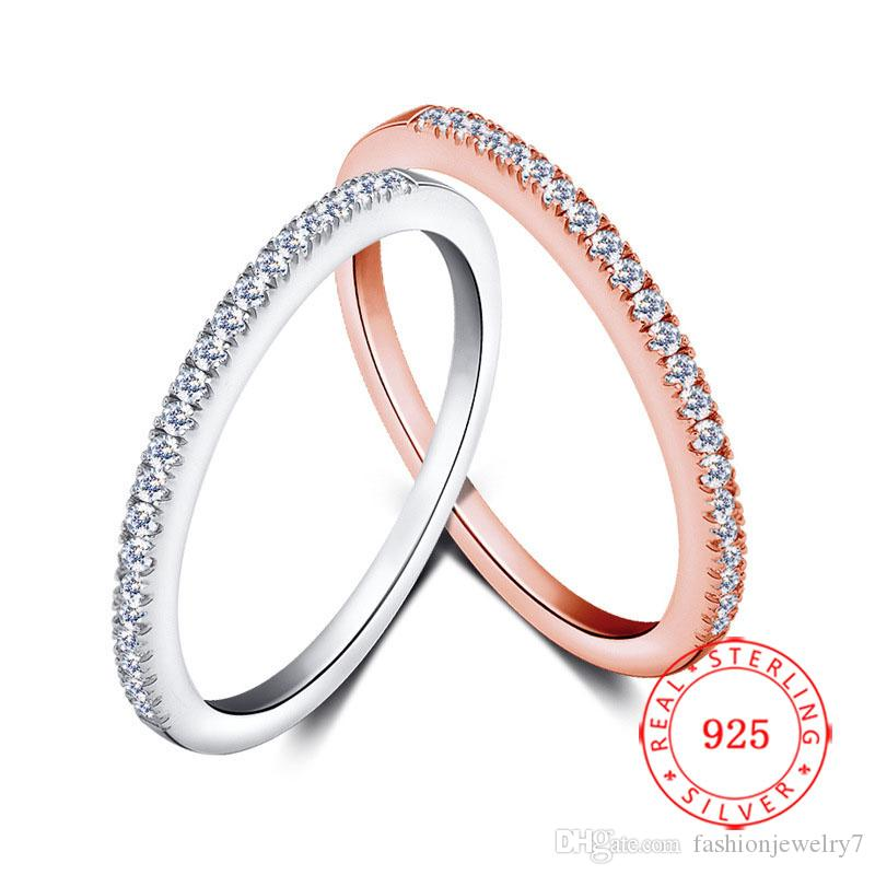 high quality 925 Sterling Silver Rhodium Rose Gold Plated Plain Little cz Crystal Cubic Zirconia Wedding Ring Jewelry for Women