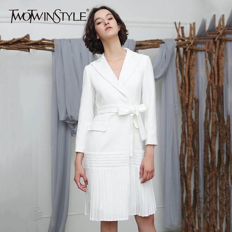 TWOTWINSTYLE automne femmes coupe-vent manches longues revers Bandage Slim Hem plissé Trench Femme Manteau Mode Vêtements Nouveau 2019