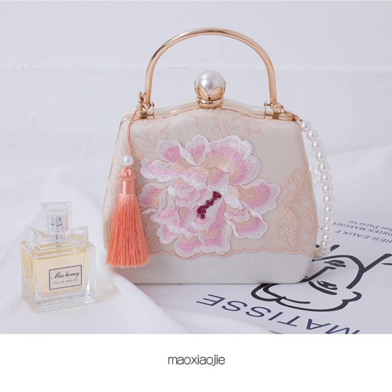 Bordados bolsos de noche para las mujeres Mujer china antigua Cena Bolsas bolso único de la celebridad elegante del bolso del monedero del embrague