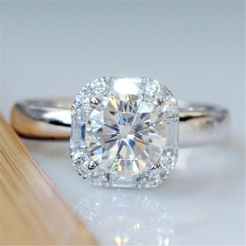 Bijoux de mode classique 925 Cut ronde en argent sterling topazes CZ Diamond Party femmes de fiançailles de mariage Bague pour amant cadeau