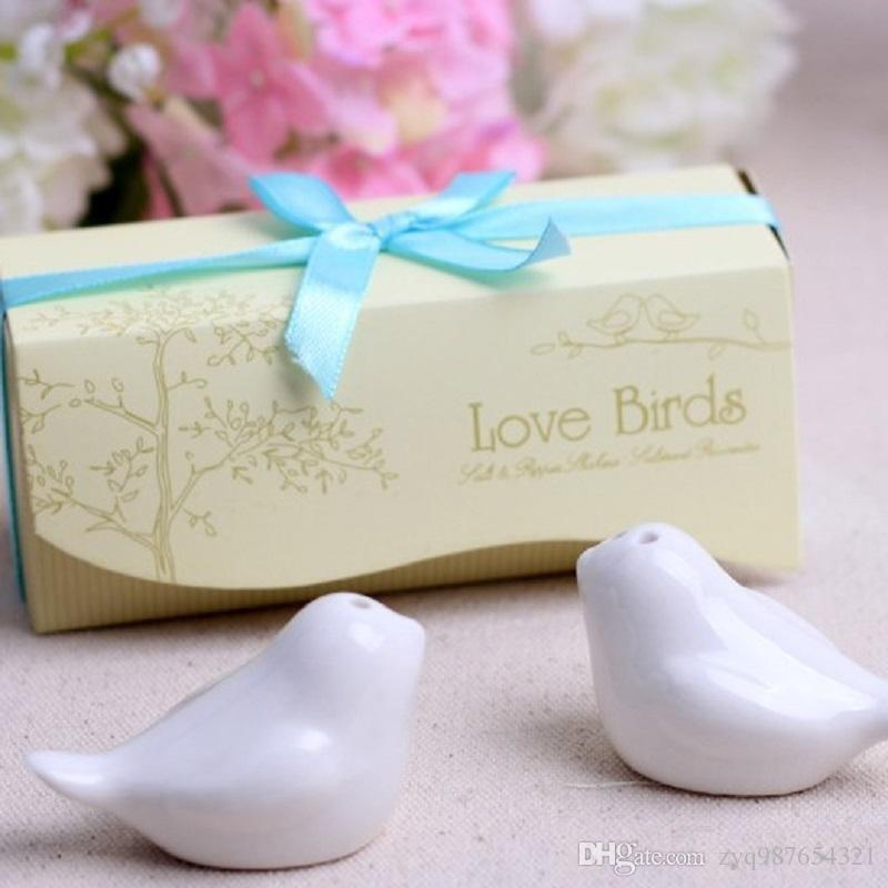 200 Pcs = 100 conjunto Favores Do Casamento e Do Partido bonito lembranças de Pássaros do amor Sal e Pimenta Shakers Recibo de casamento Presentes para o casamento romântico