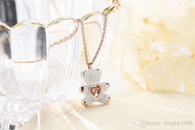 2019 new pink diamond teddy smart white bear collana stile europeo e americano moda flash cuore pendente moda carino