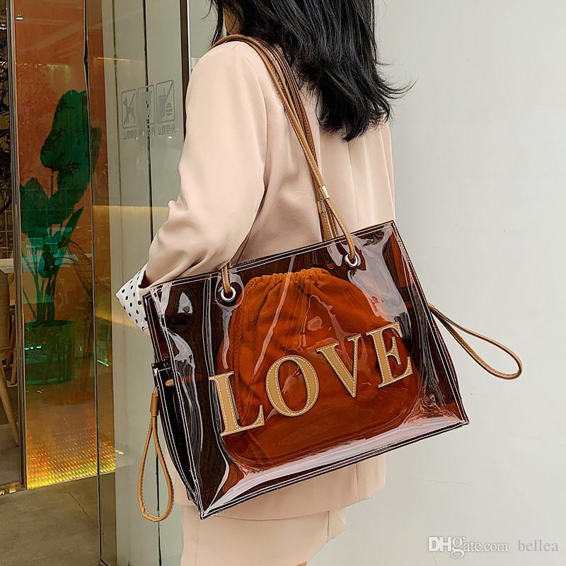 Neue klare Handtasche für Frauen große braune Handtasche Frauen Umhängetasche Mode transparente Tasche mit Geldbörse Sommer Strand Einkaufstasche