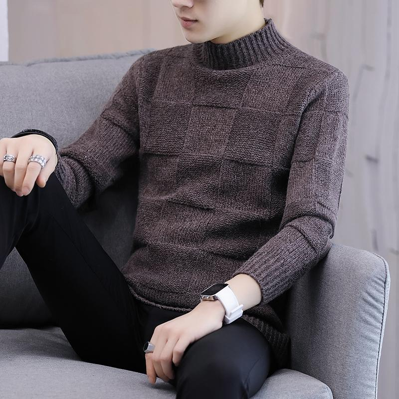 Winter Thick Warm Cashmere Sweater Men Turtleneck Mens Pullover Classic Wool Knitwear Pull,Gray,S