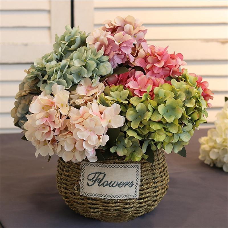 6 branche artificielle soie hortensia fleur Bouquet pour la Maison De Mariage Décoration Pas Cher Vase Arrangement de Table Faux Fleurs