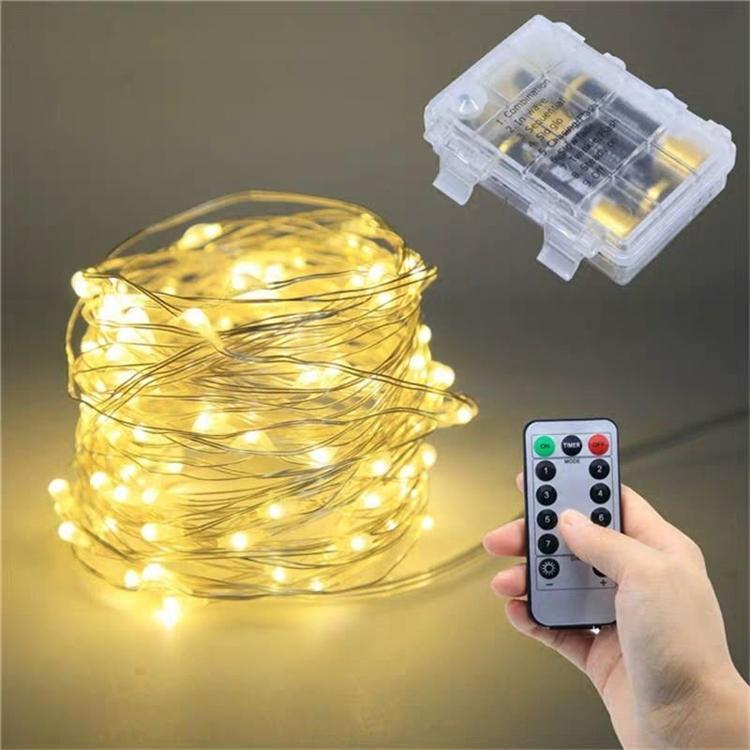 Cobre plata alambre led luz luz hada guirnalda lámpara decorativa navidad con 8 modos control remoto batería alimentada