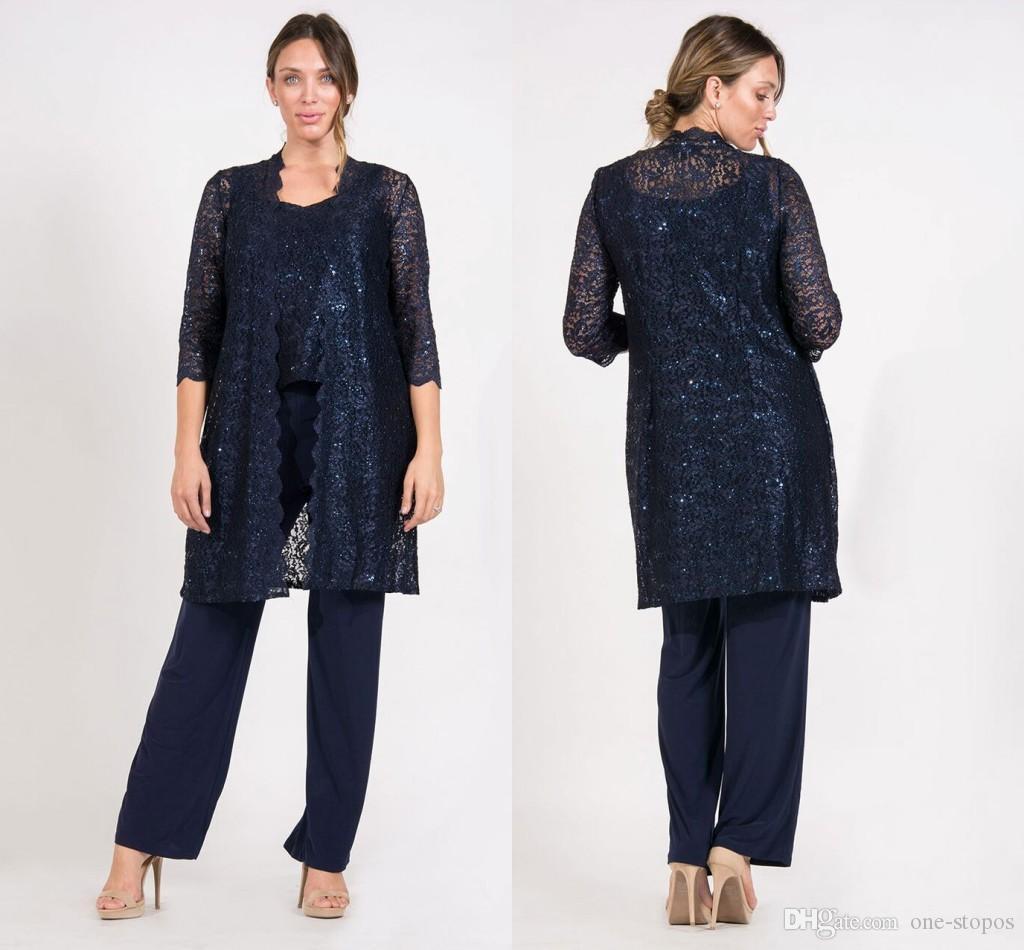 Lacivert Dantel Anne Pantolon Ceket Ile Takım Şifon 3/4 Kollu Scoop Boyun Uzun Abiye Artı Boyutu anne Gelin Elbiseler